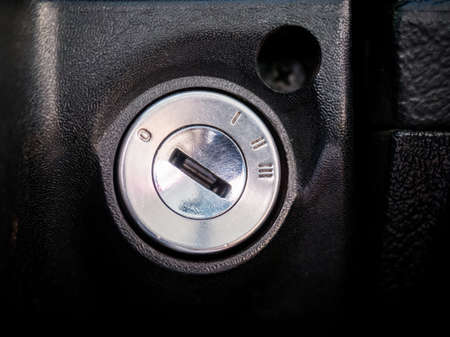 Detail of the ignition switch in the car