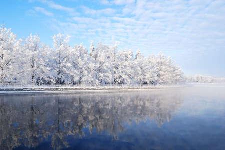 Финляндия: Snow-covered trees reflecting in the icy water of Imatra reservoir.  Finland Фото со стока