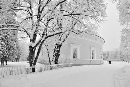 architector: The architectural ensemble of the Elagin Island in winter Stock Photo