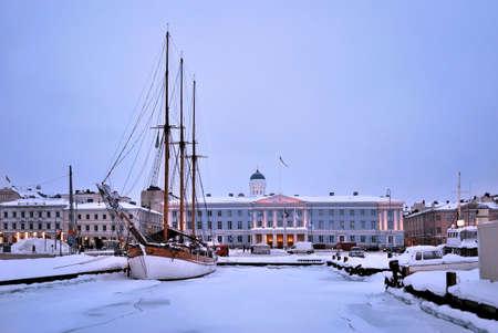 helsinki: Beautiful romantic winter evening in Helsinki, Finland  Stock Photo