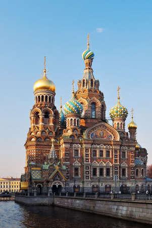 St. Petersburg. Kathedraal van onze Verlosser op het bloed in de avond