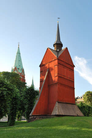 norrmalm: Stockholm. The old wooden church in the area of Norrmalm at sunset Stock Photo