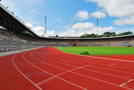 running track: Stockholm Stadium in a sunny summer day. Sweden Stock Photo