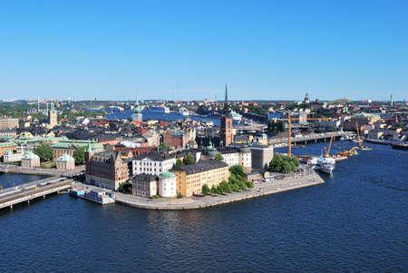 birdseye: Stockholm, the island Riddarholmen in the afternoon. Birds-eye view