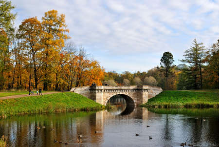Gatchina Park in autumn. Carpin  pond and bridge photo