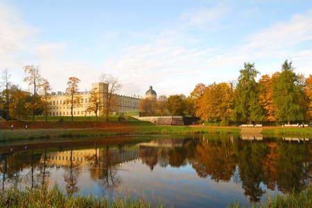 Gatchina Palace and Karpin pond  in autumn. St.Petersburg photo