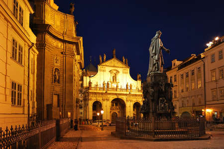 Prague, Old Town at night. Krzhizhovnitskaya Square Stock Photo