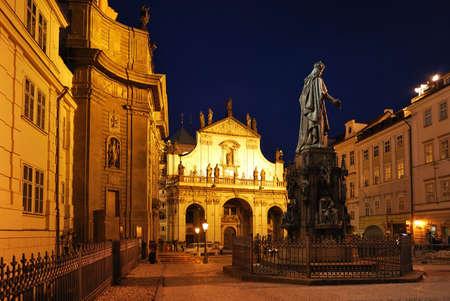 old town square: Prague, Old Town at night. Krzhizhovnitskaya Square Stock Photo