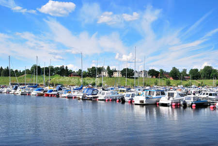 Lappeenranta harbor and  fortress Linnoitus in the background. Finland Stock Photo - 8630107