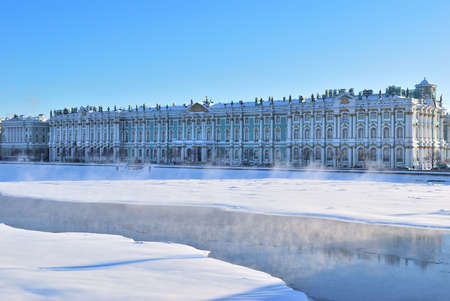 st petersburg: St. Petersburg. Winter Palace  and Neva river in cold sunny winter day
