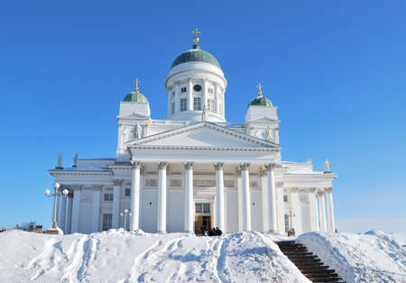pilasters: Helsinki, Finland. Lutheran Cathedral in winter Stock Photo