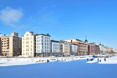 helsinki: Helsinki, Finland. North Quay in a sunny winter day