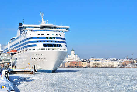 winter finland: Passenger ferry at the terminal in Helsinki, Finland