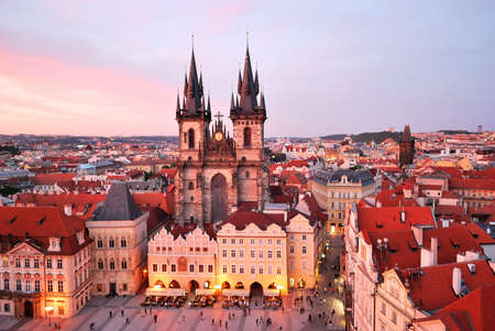 tyn: Prague, Tyn Cathedral of the Virgin Mary at sunset
