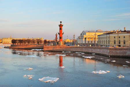 neva: St. Petersburg. Vasilievsky island Arrow and Neva river at sunset