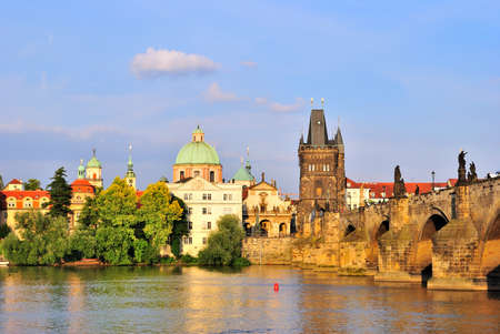 Golden Prague in the rays of the evening sun Stock Photo