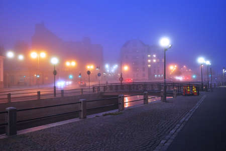 helsinki: Romantic  view of  foggy Helsinki at twilight