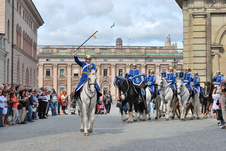 royal guard: Stockholm, Sweden, 13.55 p.m. 24082011. Changing of the guard ceremony at the Royal Palace