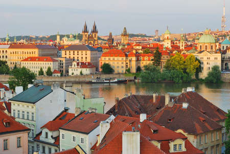 brigh: View of Prague Old Town at sunset