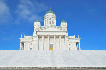 classicism: Helsinki. Very beautiful Lutheran  Cathedral in the style of classicism   Stock Photo