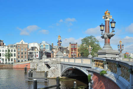 amstel: Amsterdam.  Famous  Blue Bridge over the River Amstel Stock Photo