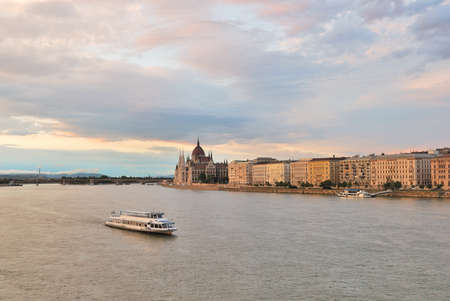 Very beautiful sunset  in Budapest. Danube river embankment photo