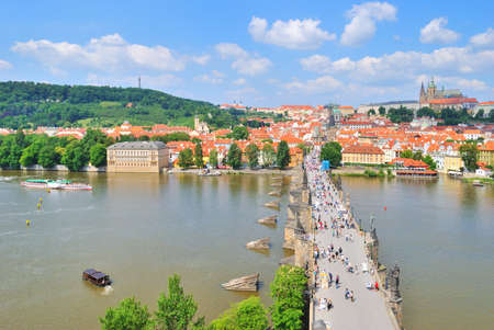Prague. View of the Vltava, Charles Bridge and Lesser Town from  the Old TownTower photo