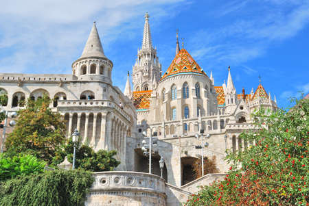 fishermens: Budapest. View of Fishermans Bastion and the church of St. Matthias from the east