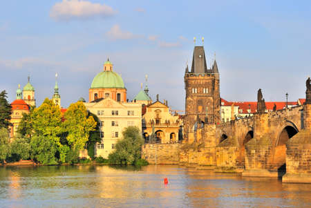 vltava: Prague, Czech Republic. Embankment of the Vltava River and the Old Town Stock Photo