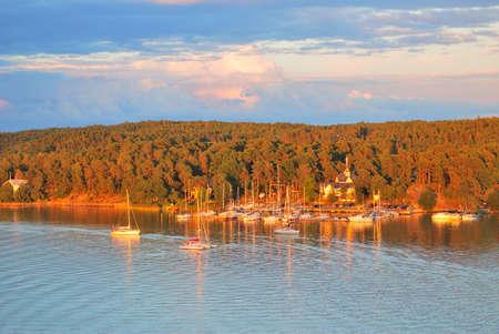 vicinity:  Finland. Very beautiful sunset in the vicinity of Turku Stock Photo