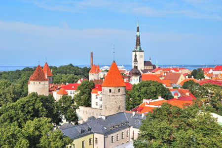 rooftiles: Top-view of  the Old Town of Tallinn,  Estonia