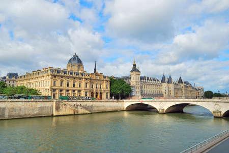 cite: Paris. View of the river Seine and beautiful quay of the island Cite