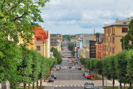 turku:  Finland. Cozy street in Turku in a sunny summer day