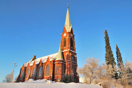 lutheran: Mikkeli, Finland. Lutheran Cathedral before early winter sunset