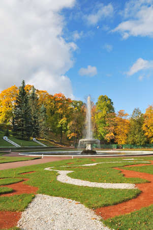 St. Petersburg. Beautiful  regular Lower Park in Peterhof Stock Photo - 23214444