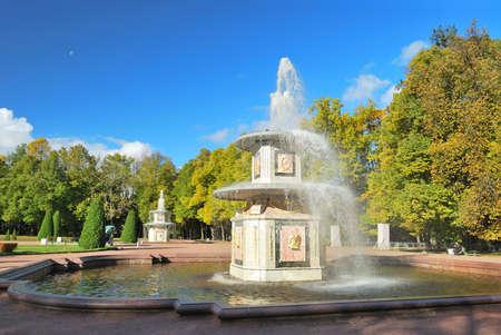 st  petersburg: St. Petersburg, Peterhof. Roman fountains in the Lower Park Stock Photo