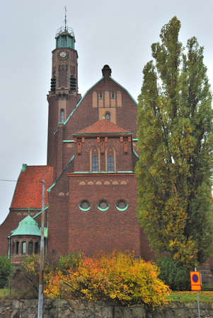 protestant: Stockholm.  Protestant Engelbrecht church in the style of northern modern  in autumn Stock Photo