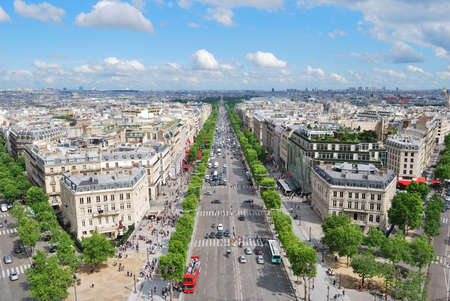 champs: Paris. View of the Champs Elysees from the Arc de Triomphe