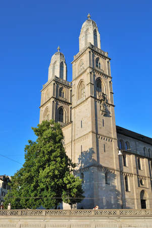 grossmunster cathedral: Switzerland. Very famous Cathedral in Zurich Grossmunster  Stock Photo