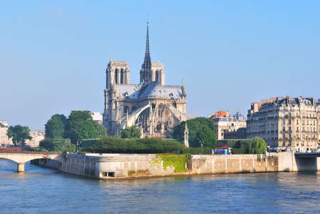 cite: Paris, France. Cite island in the sunny summer morning  Stock Photo
