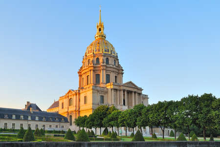 invalides: Paris, France. Very beautiful Invalides Cathedral at sunset