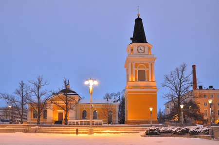 the old church: Tampere, Finland. The Old church in the neoclassical style at twilight  Stock Photo
