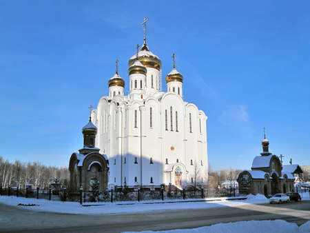 perm: Syktyvkar. Stephen of Perm Cathedral in a cold winter day                                Stock Photo