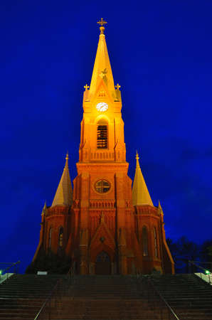lutheran: Finland. Lutheran Cathedral in the town of Mikkeli at night