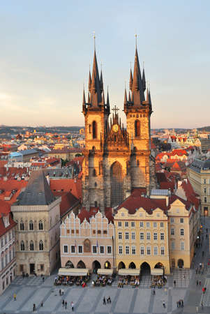 tyn: Prague. Tyn Cathedral of the Virgin Mary at sunset