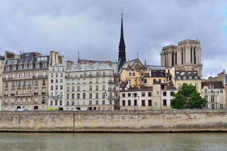 cite: Paris, France. Cite island in a cloudy summer day