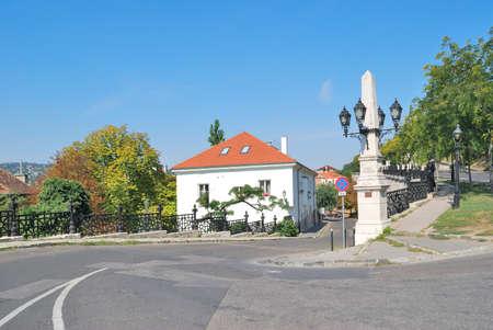 buda: Budapest, Hungary. Beautiful cozy street on the Buda hills Stock Photo