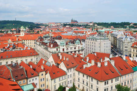 Prague, Czech Republic. Top-view of the Old Town from the Town Hall
