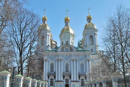 st nicholas cathedral: Saint-Petersburg, Russia. St. Nicholas Cathedral in a sunny spring day Stock Photo