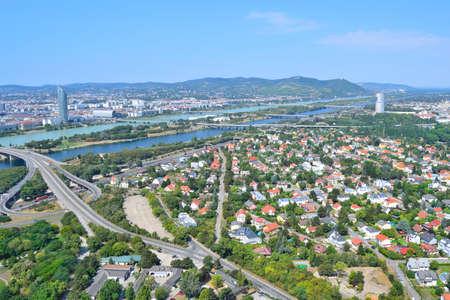 surroundings: Austria. View of the Danube and surroundings of Vienna